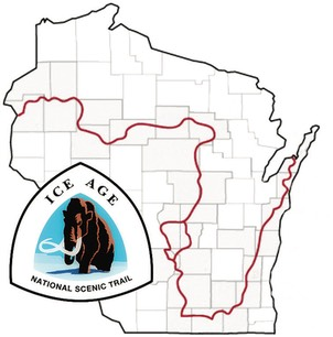 Wisconsin map showing Ice Age Trail route and Ice Age Trail Emblem